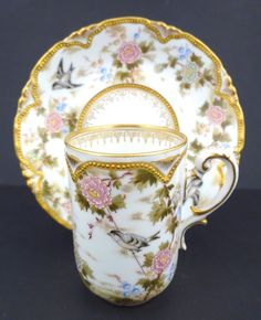 Antique Austrian Japanese-Style Chocolate Cup & Saucer Pre 1900. Antique Dishes, Antique China, Japanese Tea Set, Japanese Style, Rose Tea, Tea Roses, Chocolate Cups, Vintage Cups, China Tea Cups