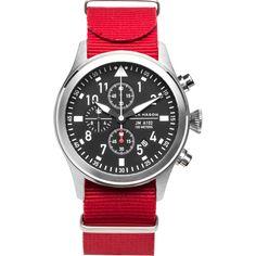 Jack Mason Aviator Black Chronograph Stainless Steel Watch | Red Nylon