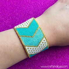 Pretty Chevrons Turquoise White & Gold Peyote Stitch