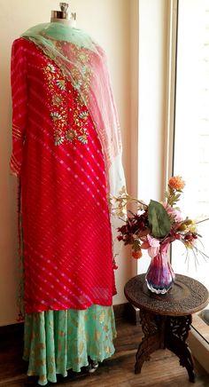 Look stunning in this Pink Leheria Gota Patti Kurta ornated with Side Tassels and Elaborate Gota and Zardozi Embroidery. It comes with a Bias Cut Full Flared Turquoise Foil Print Skirt and Pearl Work Indian Lehenga, Red Lehenga, Lehenga Choli, Sharara, Choli Dress, Bridal Lehenga, Pakistani Dresses, Indian Dresses, Indian Outfits
