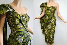 Vintage 50s ALFRED SHAHEEN Dress // 1950s Sarong Dress // 50s Strapless Dress & Train // Hawaiian Bombshell