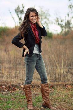 -black blazer -gray shirt -cute scarf -boots