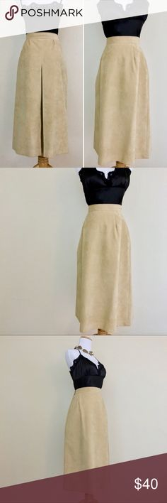 Vintage 70s Camel Tan Faux Vegan Suede Midi Skirt Vintage 1970s Samuel Robert High Waisted Faux Ultra Suede Camel Tan Skirt. This A-line high waist, minimalist piece is a perfect staple for a classic look! Made of a soft faux suede that feels just like the real thing in a camel tan hue. Midi length, past knees with a rear pleated panel that gives it classic vintage detail. Pair with a tucked in top and your favorite heels for a dressy look. In great vintage condition, No stains or major…