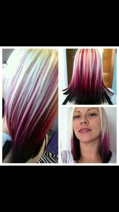 Did my hair black pink red blonde by janina.gianfrancesco Did my hair black pink red blonde by janin Pink And Black Hair, Blonde With Pink, Hair Color Pink, Hair Color For Black Hair, Red Purple, Hair Colors, White Blonde, White Hair, Purple Hair