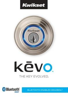 #IoT #device: Kwikset Kevo Single Cylinder #Bluetooth Enabled #Deadbolt. Your Smartphone is now your key. Send an electronic eKey to family, friends or visitors.