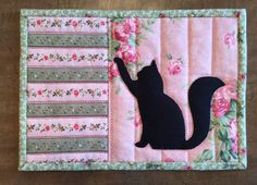 Cat Mug Rug, snack mat, candle mat, pink and green                                                                                                                                                                                 More