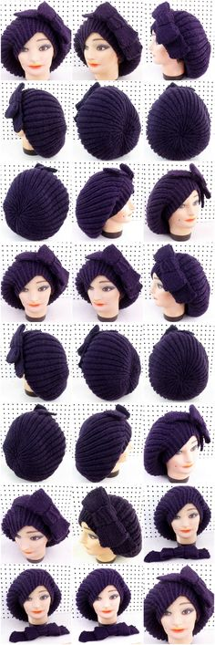 MARY Knit Beanie Hat with Ribbon Pin in Purple