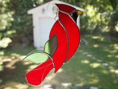 Stained Glass Cardinal Suncatcher by GlassofDistinction on Etsy, $12.95