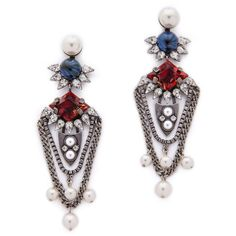 Dannijo Tabitha Earrings - Silver/Italian Siam/Pearl (800 BRL) ❤ liked on Polyvore featuring jewelry, earrings, silver earrings, pearl jewellery, oxidized silver jewelry, pearl earrings and earring jewelry