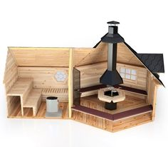 Nordlog Kombi- Grillkota Mit Sauna - Home Decor - Marecipe Sauna House, Sauna Room, Tiny House Cabin, Saunas, Bbq Hut, Outdoor Sauna, Sauna Design, Dome House, Concrete Patio