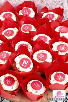 Vandaag is rood ... de kleur van de cupcakes; met een heerlijke italian meringue buttercreme toef. Sweet 18 birthday girl