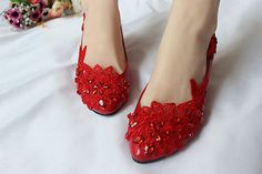 New Women's Red Flats Low Heels Wedding Lace Pearl Flower Bride Bridesmaid Shoes