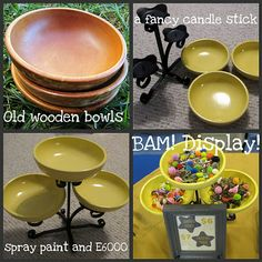 DIY display idea using a candle holder and wooden bowls - easy, clever and cute!!