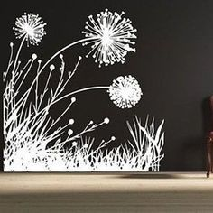 """Dandelion Scene Vinyl Wall Decal HB76 Dandelions Wall Decal- by Decor Designs Decals 58"""" WIDE x 58"""" HIGH Available in the color of your choice!! We now have 21 MATTE FINISH COLORS to choose from!!! Se"""