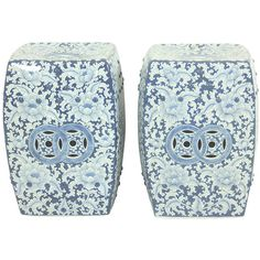 Pair of Blue and White Floral Garden Stools ($650) ❤ liked on Polyvore featuring home, outdoors, patio furniture, outdoor stools, blue and white garden stool and blue white garden stool