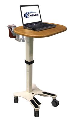 medical laptop cart with basket and sharps container - Laptop Cart