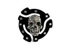 45 RPM Adapter Gunmetal Skull Adjustable Ring