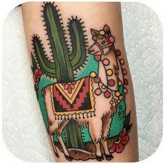 Cactus and llama tattoo