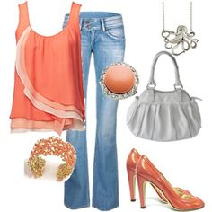 This is my inspiration for summer: orange, blue and silver. Floaty top and nice jeans. Going to girl it up!