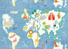 Around the World Cobalt Fabric for Curtains, Blinds and Cushion for Kids and Childrens