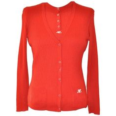 Preowned 1970s Andre Courreges Red Cardigan Set ($395) ❤ liked on Polyvore featuring tops, cardigans, red, sweaters, red v neck top, button top, red short sleeve cardigan, button cardigan and short sleeve v neck cardigan
