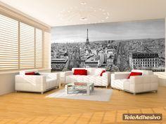 Skyline de París en blanco y negro - FOTOMURALES #decoracion #teleadhesivo #paris