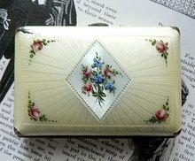 Vintage 1920's Small Flapper Cigarette Case Guilloche Enamel