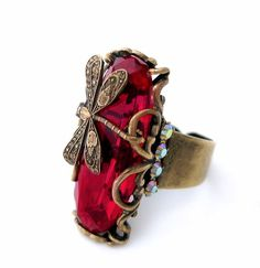 Red dragonfly ring, antique brass filigree ring with vintage glass stone, adjustable cocktail ring, Art Deco style jewelry