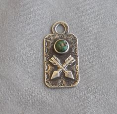 Vintage Fred Harvey Era Crossed Arrows Sterling Turquoise Dog Tag Fob