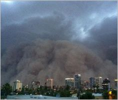 "8) Meaning behind unusual name  A monstrous dust storm known as a Haboob roars through Phoenix on July 5, 2011. Haboob is an Arabic word meaning ""blasting"" or ""drafting,"" and it refers to an intense storm that pushes a wall of dust in front of it..."