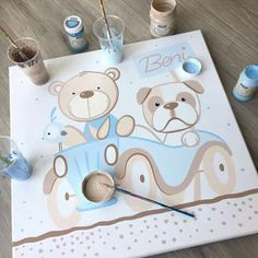 Baby Painting, Painting For Kids, Baby Shower Gifts, Baby Gifts, Baby Canvas, Creative Box, Shower Inspiration, Nursery Art, Easy Drawings