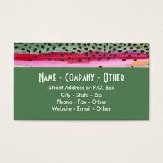 Trout fly fishing business card trout business cards and business rainbow trout fishing business card colourmoves