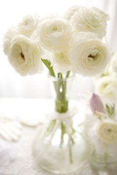 Light White Centerpiece Floral Centerpieces, White Centerpiece, Centerpiece Wedding, Wedding Reception Decorations, Ranunculus Centerpiece, Flower Arrangements, Ranunculus Bouquet, Centrepieces, Pretty Flowers