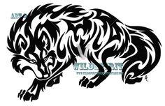 Tribal Prowling Wolf Tattoo