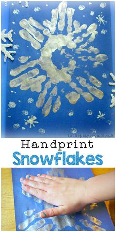 Snowflake Handprints winter craft for kids - In The Playroom