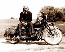 VINTAGE INDIAN MOTORCYCLE AND RIDER