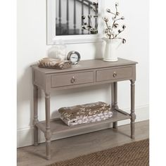 Cayne Wood Console Table with Drawers and Woven Shelf, Weathered Gray Entryway Decor, Entryway Tables, Narrow Entry Table, Entry Table With Drawers, Home Depot Folding Table, Ikea Lack Coffee Table, White Side Tables, Diy Desk, Console Table
