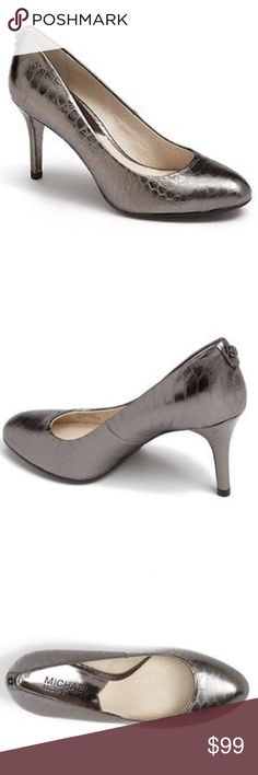 """Michael Kors Pump Embossed Leather Gunmetal Sz 8.5 NWT Michael Kors MK- Flex Mid Pump Metallic Embossed Leather python Gunmetal - 3"""" heels - SZ 8.5 in the original box - very comfortable and rounded toe - perfect for Christmas and Holiday parties! Never out of my closet! Michael Kors Shoes"""
