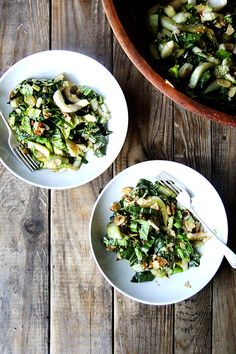 bok choy salad with sesame almond crunch.