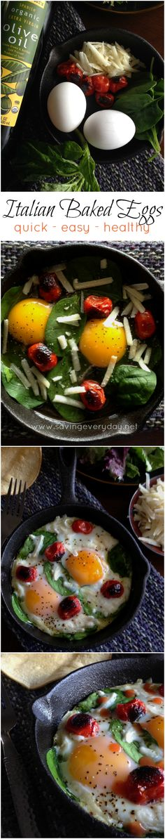Eggs, basil, spinach, tomatoes, and Parmesan cheese cooked to perfection in less than 15 minutes. This is a quick and easy meal that's healthy and full of flavor!