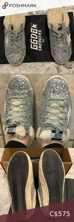Size Comes with dustbag and box. Shearling insoles are removable. Bow Flats, Golden Goose, Leather Flats, Blue Velvet, Silver Glitter, Jimmy Choo, Superstar, Dust Bag, Wedge