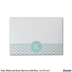 Teal, White and Gray Chevron with Monogram - Personalized Sticky Note Pad