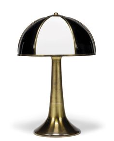 AN ACRYLIC AND BRASS FUNGO TABLE LAMP DESIGNED BY GABRIELLA CRESPI, CIRCA 1973 Signed Gabriella Crespi to edge of the base 27 in. h x 17 ½ in. d