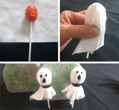 Ghost Pop Halloween Craft. I'd leave the paper on though.