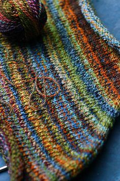 Ravelry: helloyarn's Handspun Funnel Neck Pullover. Improvised pattern with gorgeous hand-spun.