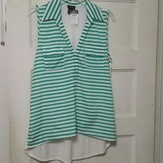 Collared tank top Green and white striped tank top. Rue 21 Tops Tank Tops