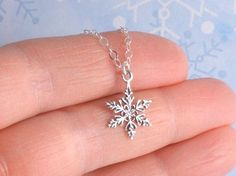 925 Sterling Silver Snowflake Necklace Let It by - Silver Jewelry Silver Necklaces, Sterling Silver Jewelry, Silver Earrings, Jewelry Necklaces, Silver Ring, Etsy Jewelry, Handmade Jewelry, Diamond Necklaces, Diamond Jewelry