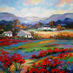 Marlise le Roux, colourful landscape artist from South Africa paints vivid original artworks of landscapes, forests & flowers. She is also the proud owner of Saxonwold Events Art Gallery that hosts regular art exhibitions. Abstract Landscape Painting, Watercolor Landscape, Landscape Art, Landscape Paintings, Colorful Paintings, Beautiful Paintings, Art Pictures, Art Images, Acrilic Paintings