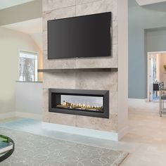 Majestic Echelon II 36 Inch See Through Linear Direct Vent Gas Fireplace MHS - Raumteiler ideen Direct Vent Gas Fireplace, Vented Gas Fireplace, Fireplace Tv Wall, Linear Fireplace, Double Sided Fireplace, Fireplace Remodel, Modern Fireplace, Living Room With Fireplace, Fireplace Design