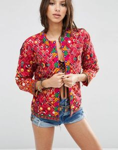 de0f6c6288ee52 ASOS Jacket with Mirror Work and Bead Detail